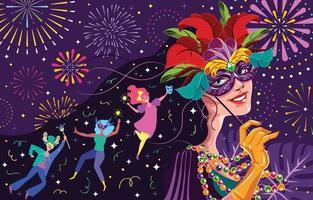 conceito de mulher máscara de carnaval mardi gras vetor