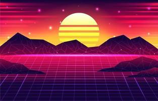 Fundo retro futurismo dos anos 80 vetor