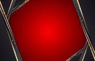 fundo vermelho abstrato com moldura preta e dourada vetor