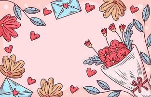 fundo de flores desenhado à mão vetor