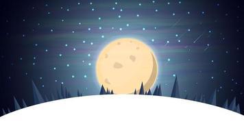paisagem de inverno dos desenhos animados com abeto, céu estrelado azul e grande lua cheia para suas artes. fundo do vetor com paisagem noturna de inverno