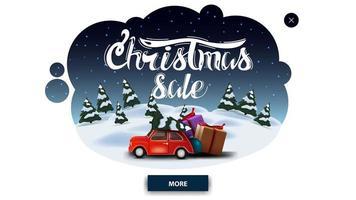 venda de natal, banner de desconto em forma de nuvem abstrata com paisagem de desenho animado de inverno e carro vintage vermelho carregando árvore de natal