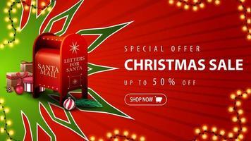 oferta especial, liquidação de natal, desconto de até 50, banner vermelho de desconto com um grande floco de neve verde e caixa de correio do Papai Noel com presentes