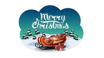 Feliz Natal, cartão postal de saudação em forma de nuvem abstrata com paisagem de desenho animado de inverno e trenó de Papai Noel com presentes