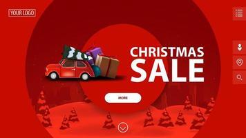 liquidação de natal, lindo banner vermelho moderno de desconto com grandes círculos decorativos, paisagem de inverno no fundo e carro vintage vermelho carregando árvore de natal
