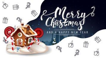 Feliz Natal e Feliz Ano Novo, lindo cartão postal de saudação em branco e azul com casa de pão de mel de Natal e ícones de linha de Natal, imaginação do espaço