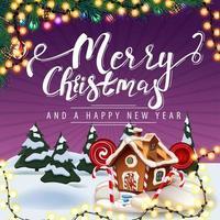 Feliz Natal e Feliz Ano Novo, postal roxo com guirlanda, galhos de árvores de Natal, desenho animado de paisagem de inverno e casa de pão de mel de Natal