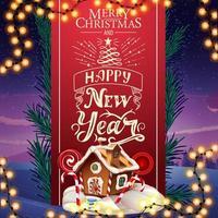 Feliz Natal e Feliz Ano Novo, cartão com lindas letras, fita vermelha vertical decorada com galhos de árvores de Natal e casa de pão de mel de Natal
