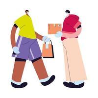 homens com máscaras e luvas entregando pacotes vetor