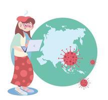 mulher doente com cobiça no continente vetor