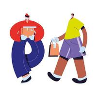 mensageiro e homem com máscaras, luvas e pacotes vetor