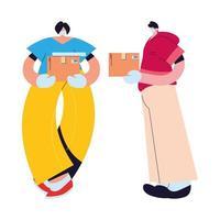 casal com máscaras e luvas entregando pacotes vetor