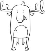 página do livro para colorir desenho animado de cervo vetor