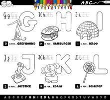 conjunto de alfabeto educacional de desenhos animados para colorir