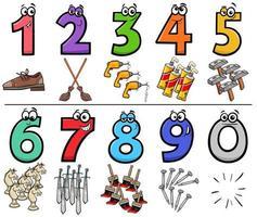 números de desenhos animados educacionais com objetos vetor