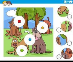 tarefa de combinar peças com personagens de cães vetor