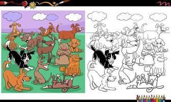 página de livro para colorir de grande grupo de personagens de cães vetor