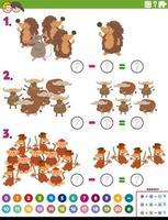 tarefa educacional de subtração matemática com animais vetor