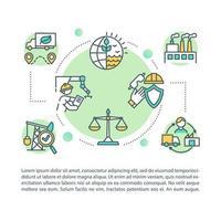 ícone do conceito de produção ética com texto vetor