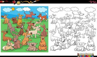 página do livro para colorir de personagens de cachorros e cães vetor