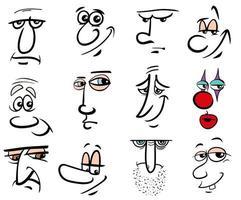 personagens de desenhos animados rostos definidos vetor