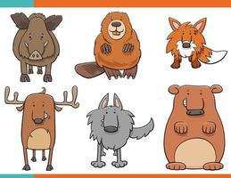 conjunto de personagens engraçados de desenhos animados de animais selvagens vetor