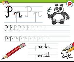 escrevendo planilha de letra p para crianças vetor