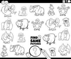 encontrar dois mesmos personagens de animais selvagens página de livro de cores vetor