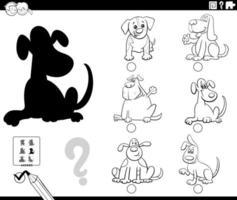 jogo de sombras com a página do livro de cores dos cães dos desenhos animados vetor