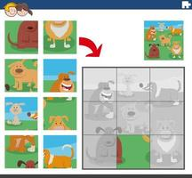 jogo de quebra-cabeça com personagens engraçados de cães vetor