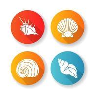 Conchas do mar exóticas design plano longa sombra glifo ícones definidos vetor
