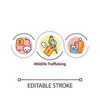ícone do conceito de tráfico de vida selvagem vetor