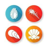 conjunto de ícones de glifo de diferentes conchas design plano vetor