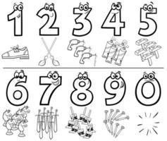 números de desenho animado definir página de livro para colorir com objetos vetor