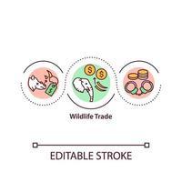 ícone do conceito de comércio de vida selvagem vetor