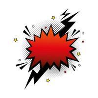 explosão de cor vermelha com ícone de estilo pop art de raio vetor