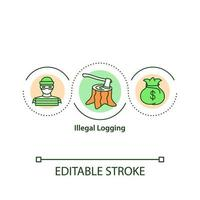 ícone do conceito de extração ilegal de madeira vetor