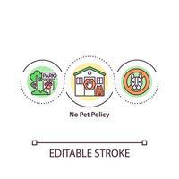 nenhum ícone de conceito de política de animais de estimação vetor