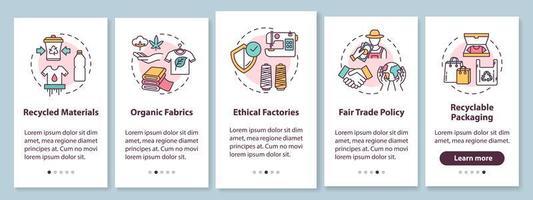 tela de página de aplicativo móvel de integração de produção ética com conceitos