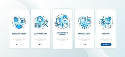 dicas de biohacking na tela da página do aplicativo móvel com conceitos vetor