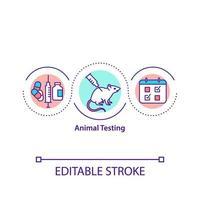 ícone do conceito de teste em animais vetor
