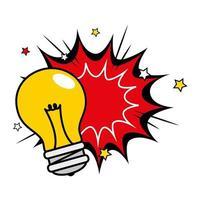 lâmpada com ícone de estilo pop art de explosão