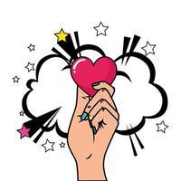 mão com coração e nuvem estilo pop art