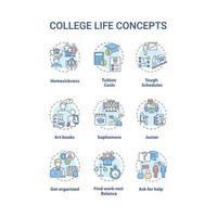 conjunto de ícones de conceito de vida universitária vetor