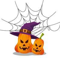 abóboras de halloween com chapéu de bruxa e teia de aranha vetor