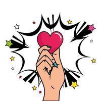 mão com coração e explosão estilo pop art