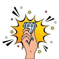 mão com diamante e ícone de estilo pop art de explosão