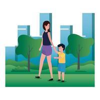 mãe com filho personagens familiares vetor