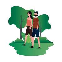 casal de amantes fofos personagens do parque vetor