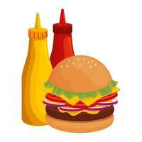 delicioso hambúrguer com garrafas molhos ícone fast food vetor